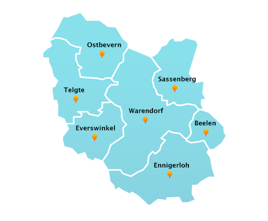 Stadtteile Winterdienst Schnee- Eisbeseitigung Warendorf